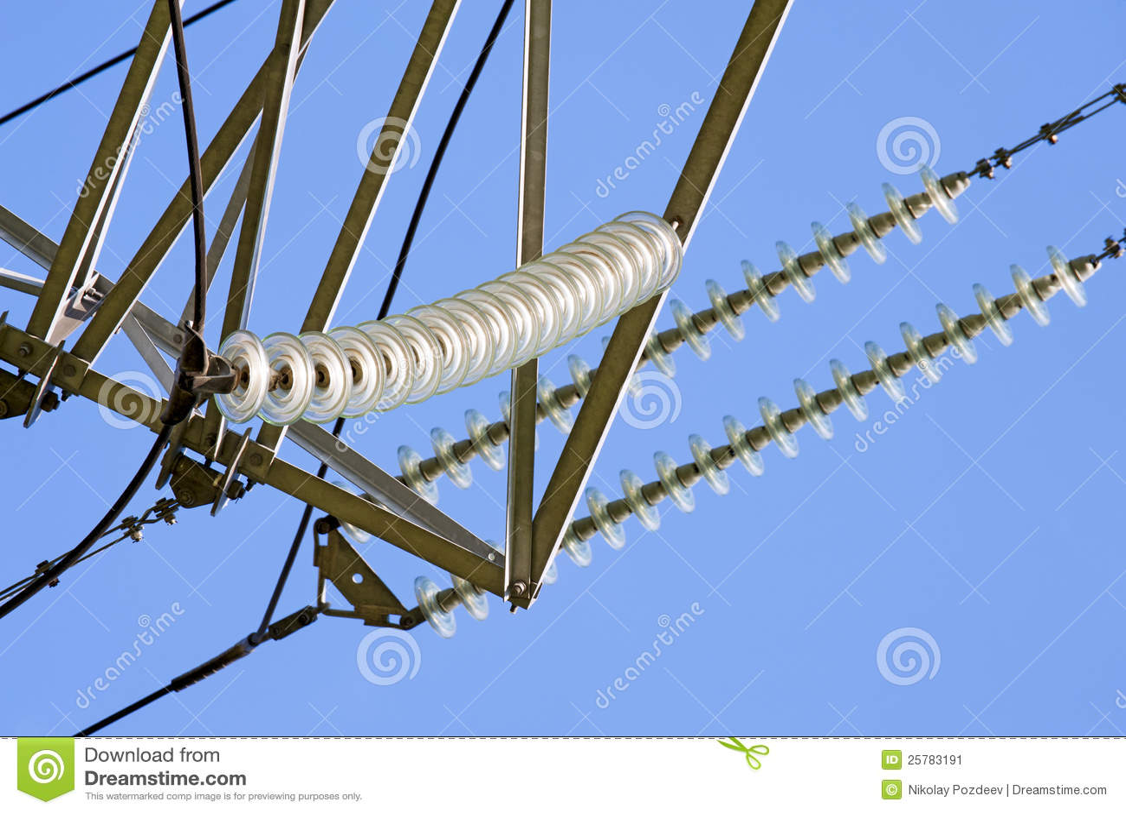 High Voltage Insulator Failures : Insulators of high voltage power lines stock image