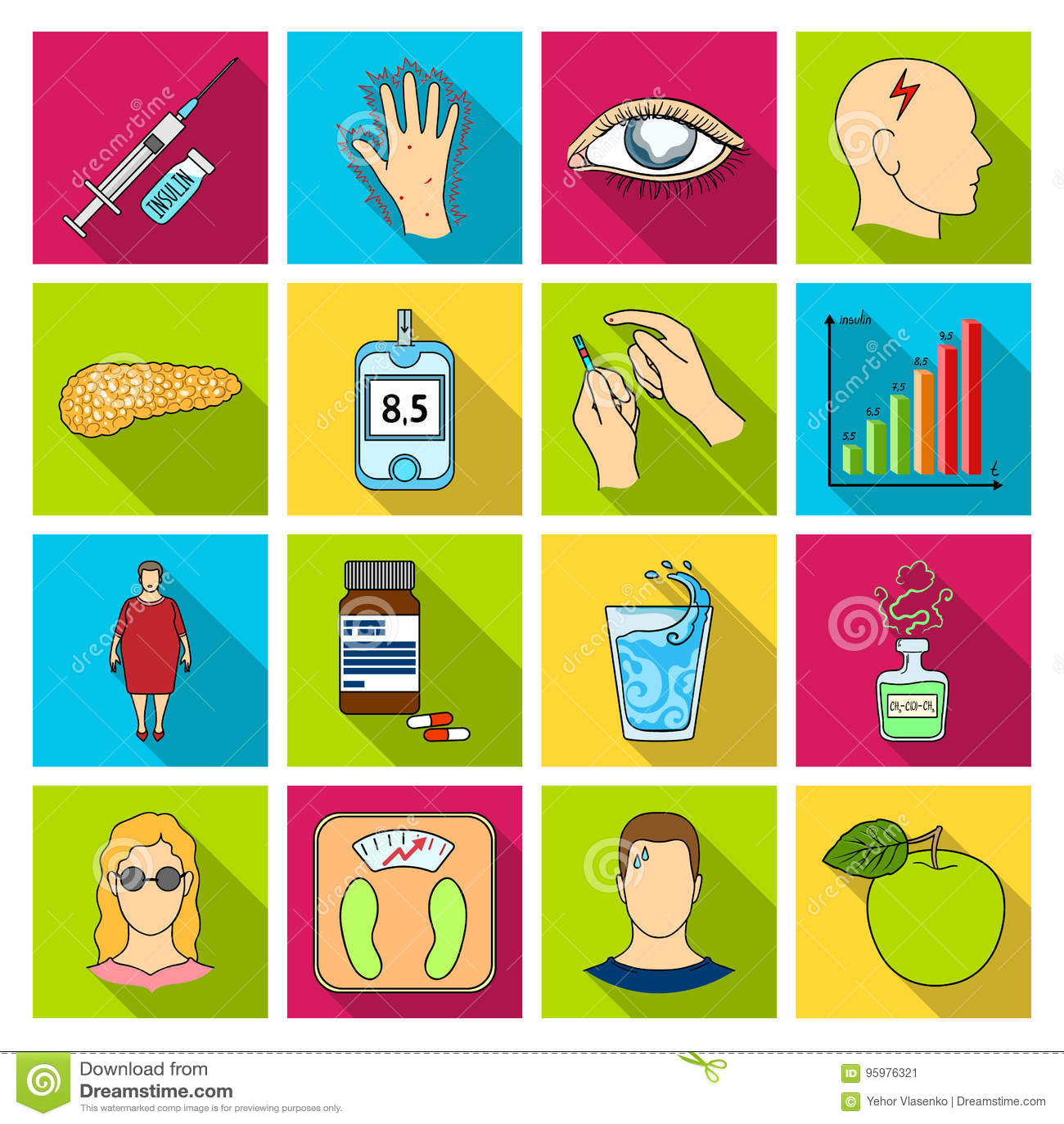 Insuline, suiker, niveau, analyse, dieet en andere eigenschappen Pictogrammen van de diabetes de vastgestelde inzameling in vlak