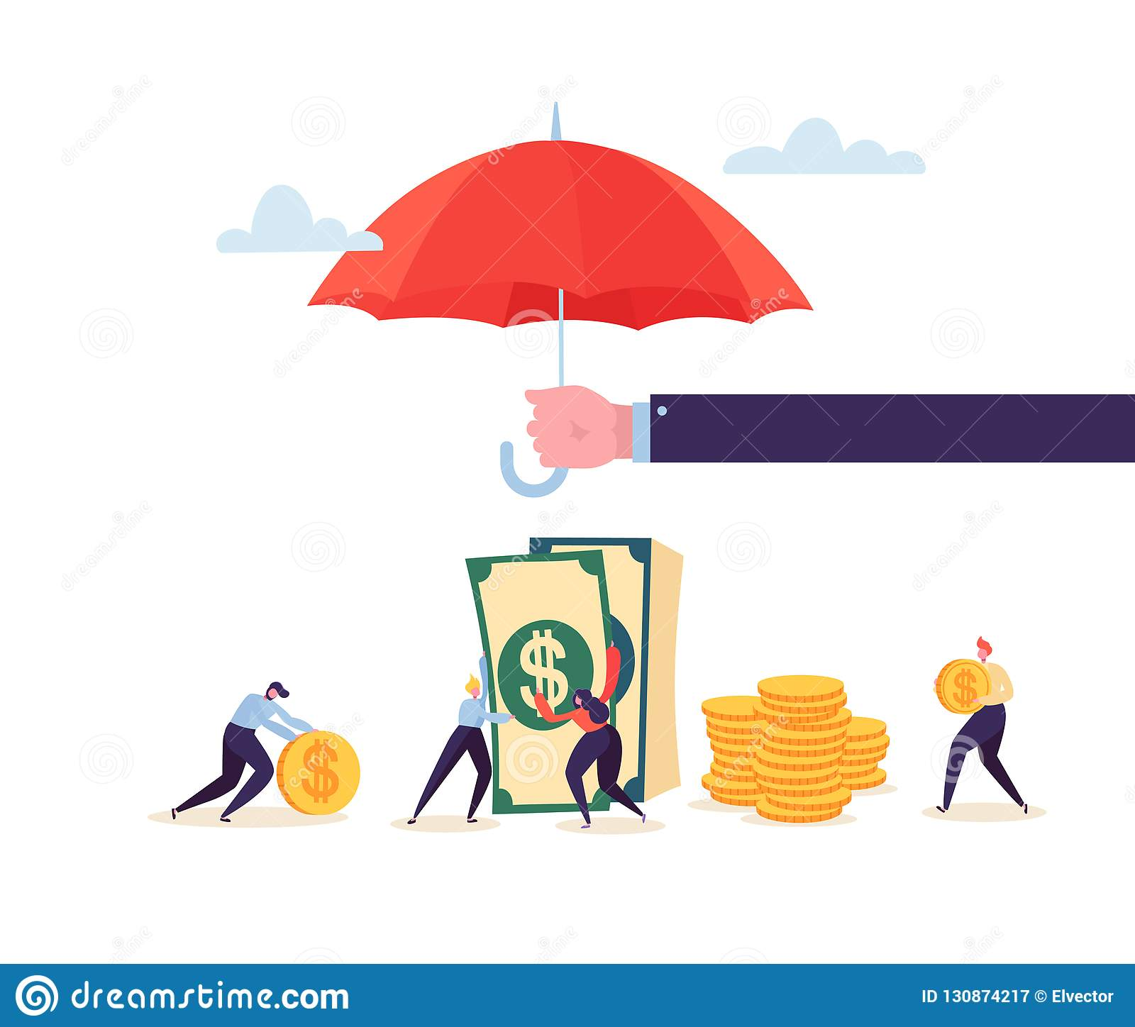 4c2c7dad1d48b Insurance Agent Holding Umbrella Over Money Savings Financial Protection  Concept with Characters Collecting Golden Coins