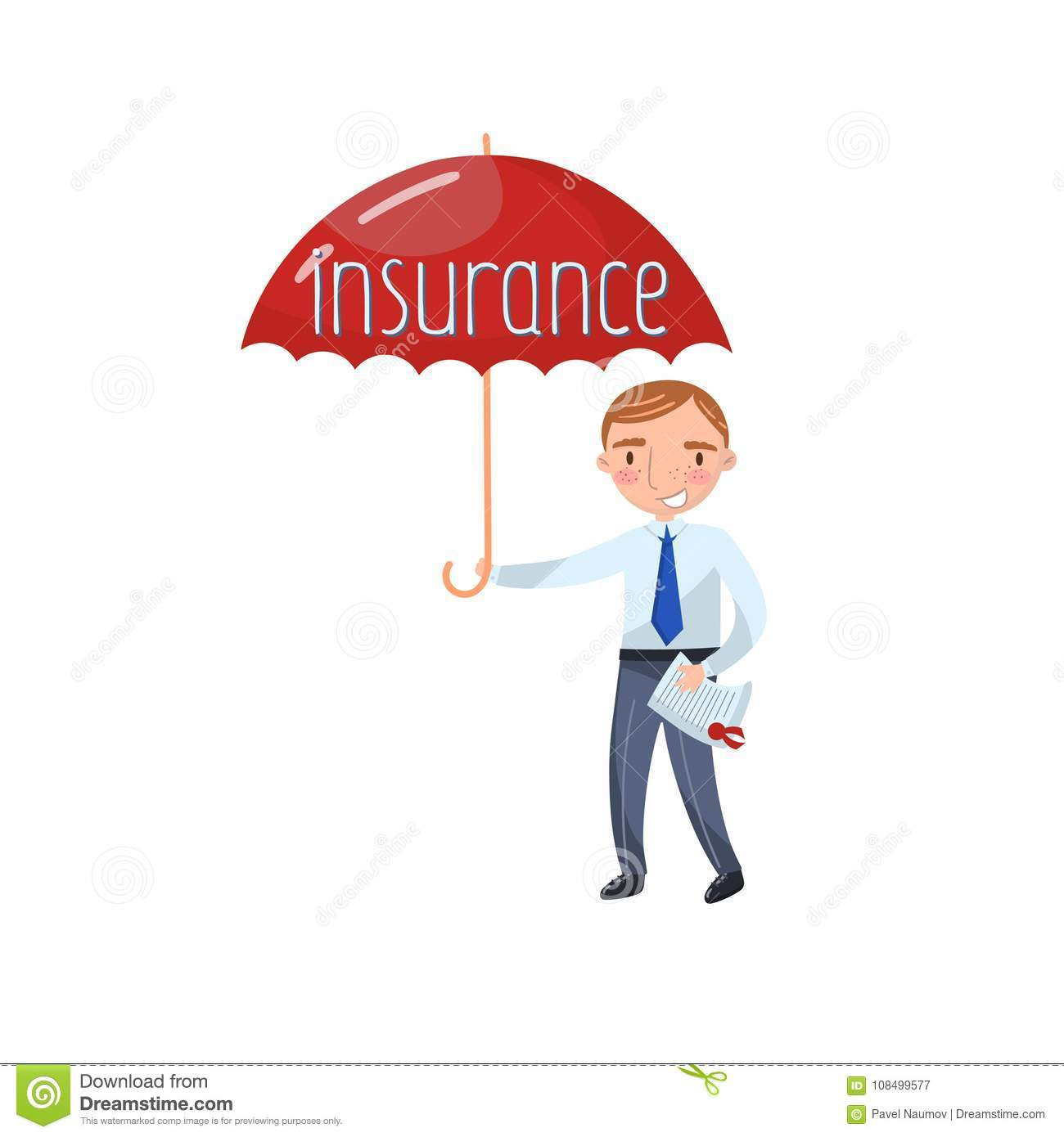Insurance Agent Standing With Red Protecting Umbrella ...