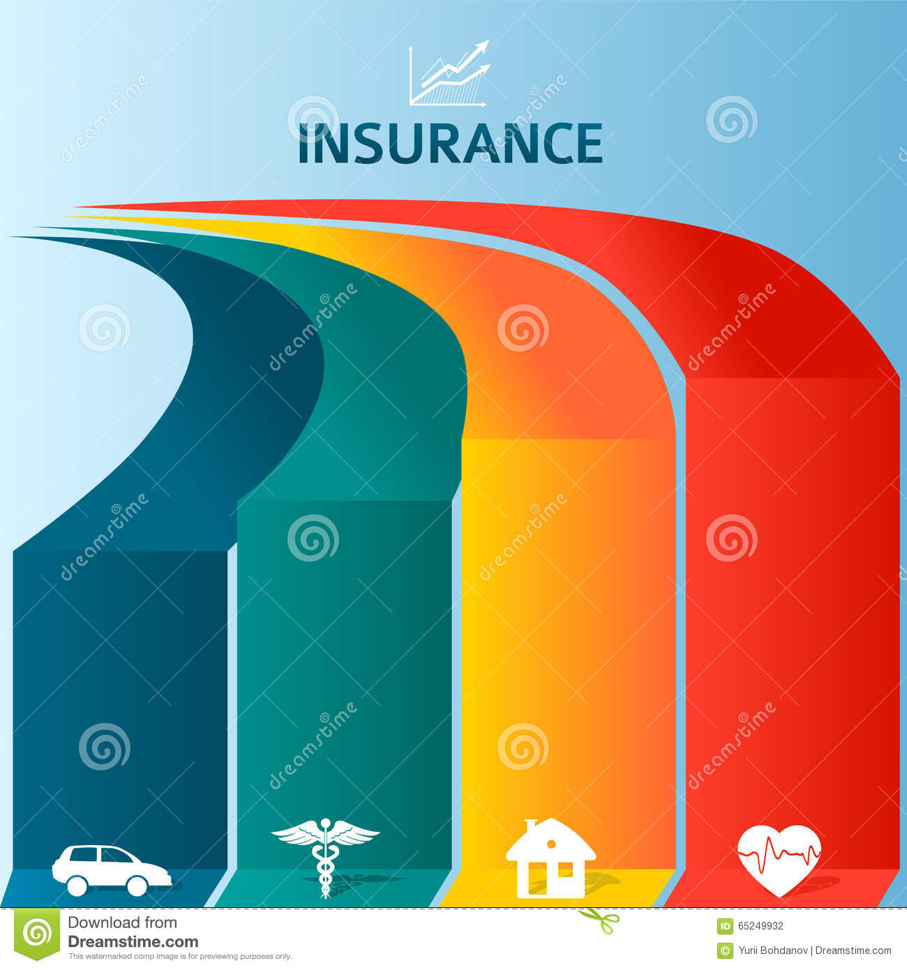 insurance infographic template  Insurance Brochure Template Infographics Colored Stripes Stock ...
