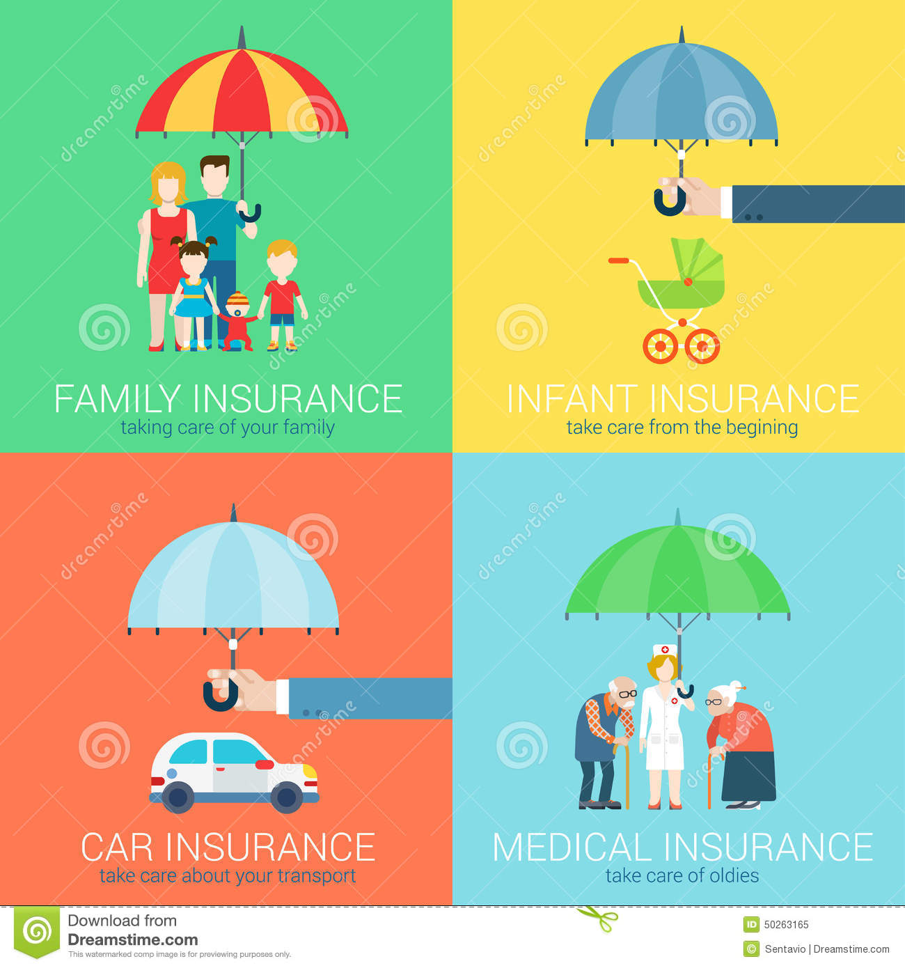 4 In 1 Insurance Business Modern Flat Set Concept Icons Illustration