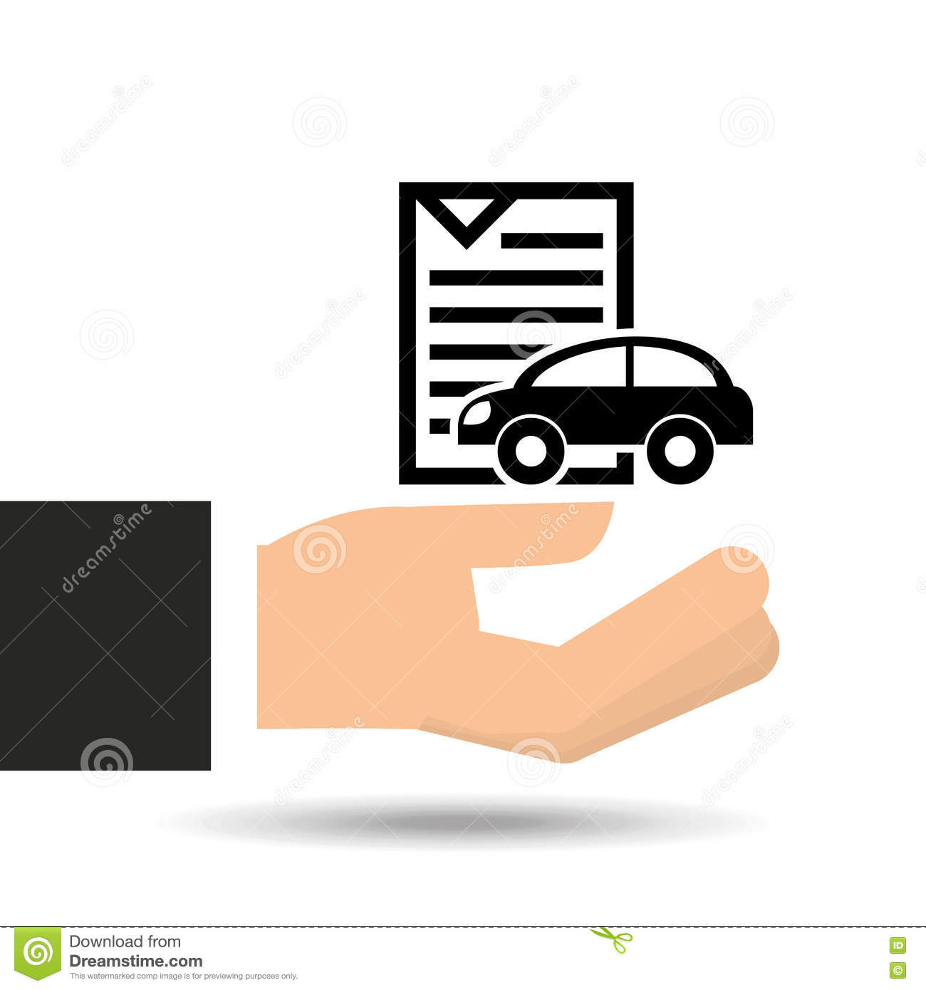 Insurance Car Policy Paper Icon Stock Vector Illustration Of