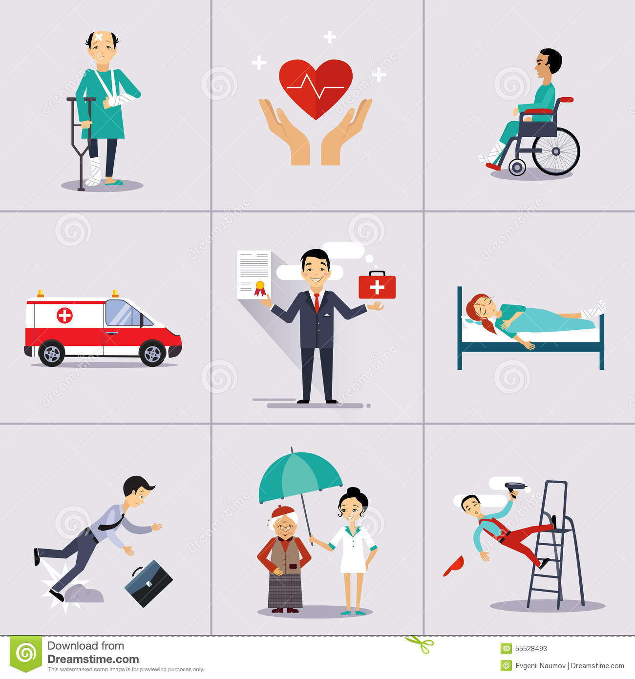 Illustrator Character Design Templates : Insurance character and icons template vector stock