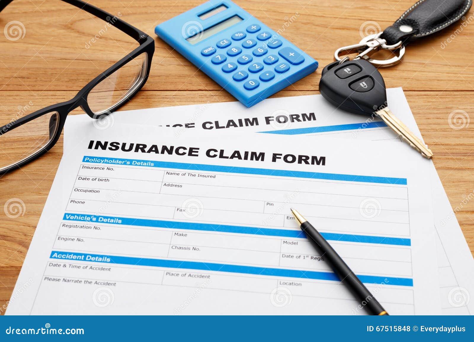 Insurance Claim Form With Car Key Stock Photo - Image of ...