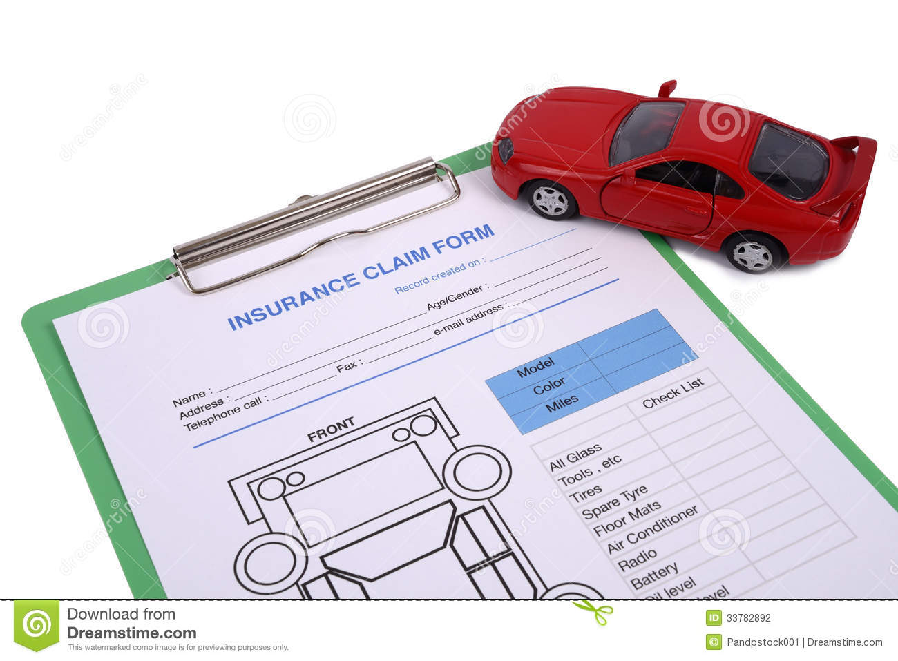Insurance Claim Form Stock Photography  Image: 33782892