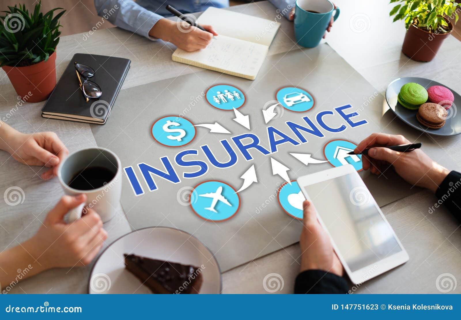 Insurance concept on office desktop life health care money travel.