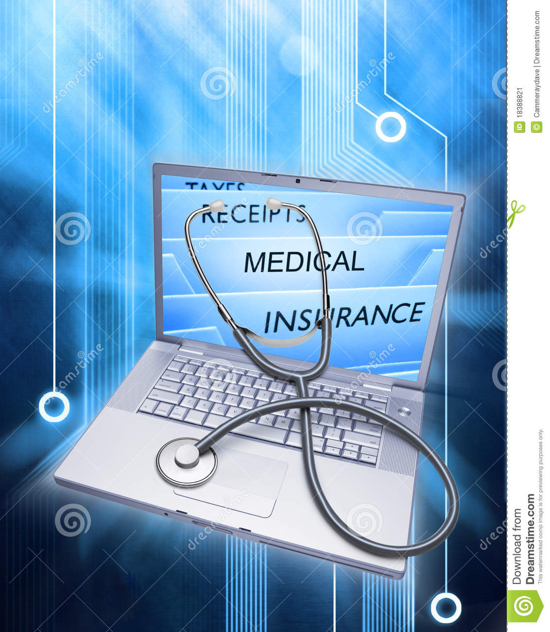 Insurance Health Records Stethoscope Computer
