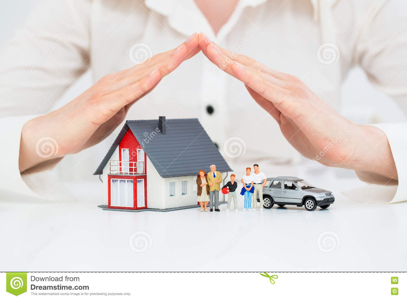 Insurance Home Live Car Protection Concept Stock Photo