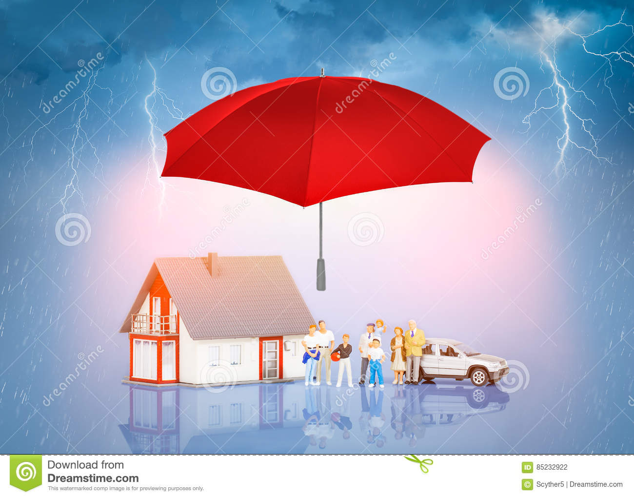 Home Protection Related Concept In Sky Background Stock