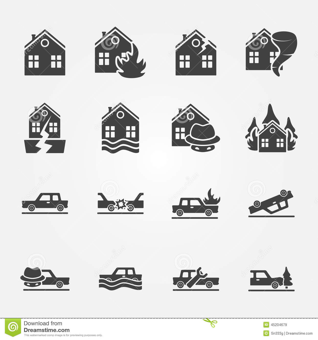 Insurance Icons Vector Set Stock Vector Image 45204679