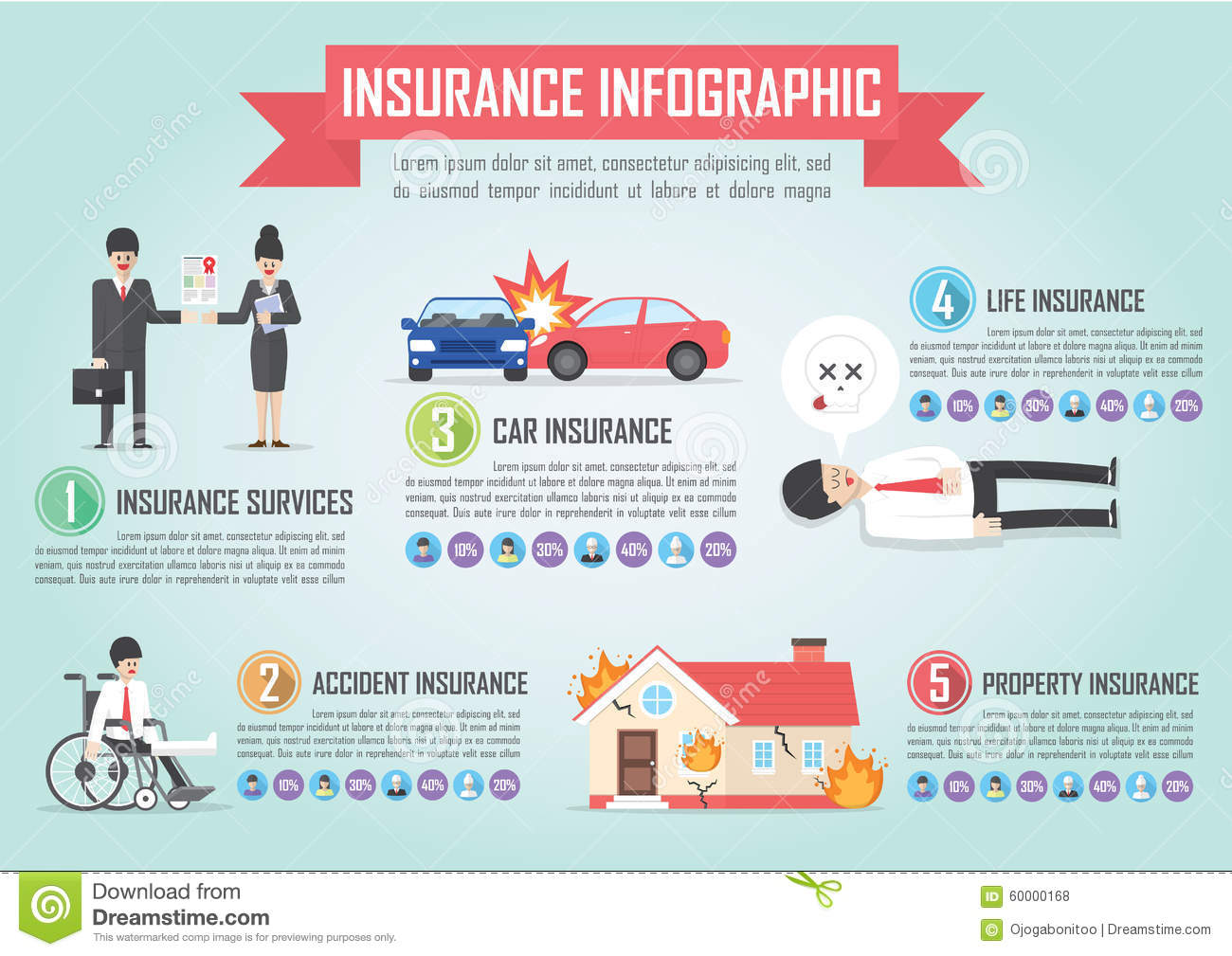 Insurance Infographic Design Template Stock Vector Image
