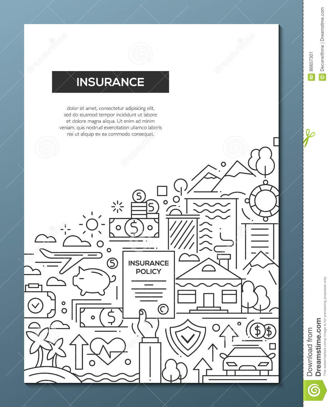 insurance line design brochure poster template a4 stock vector