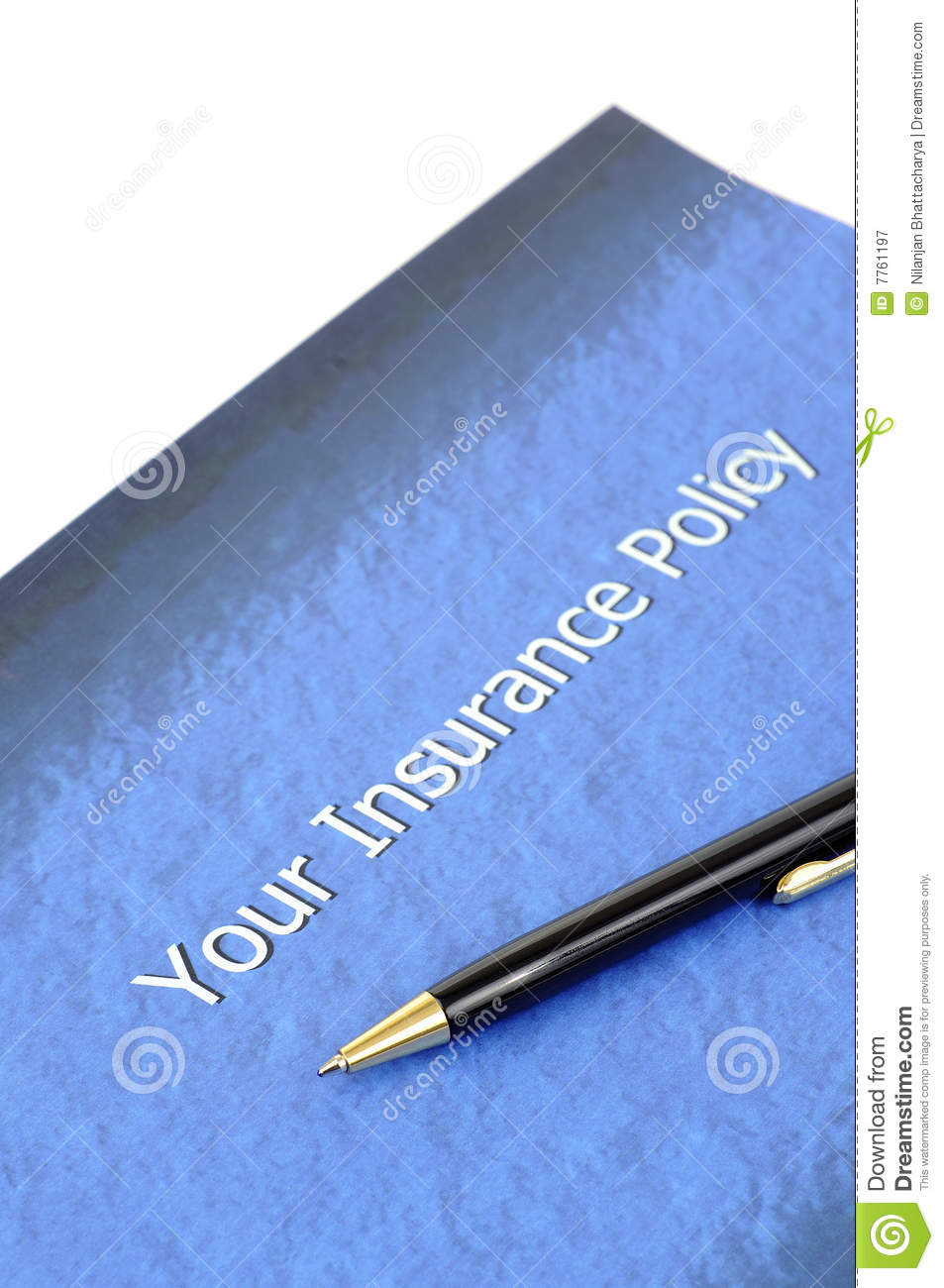 Insurance policy document stock image. Image of protect ...