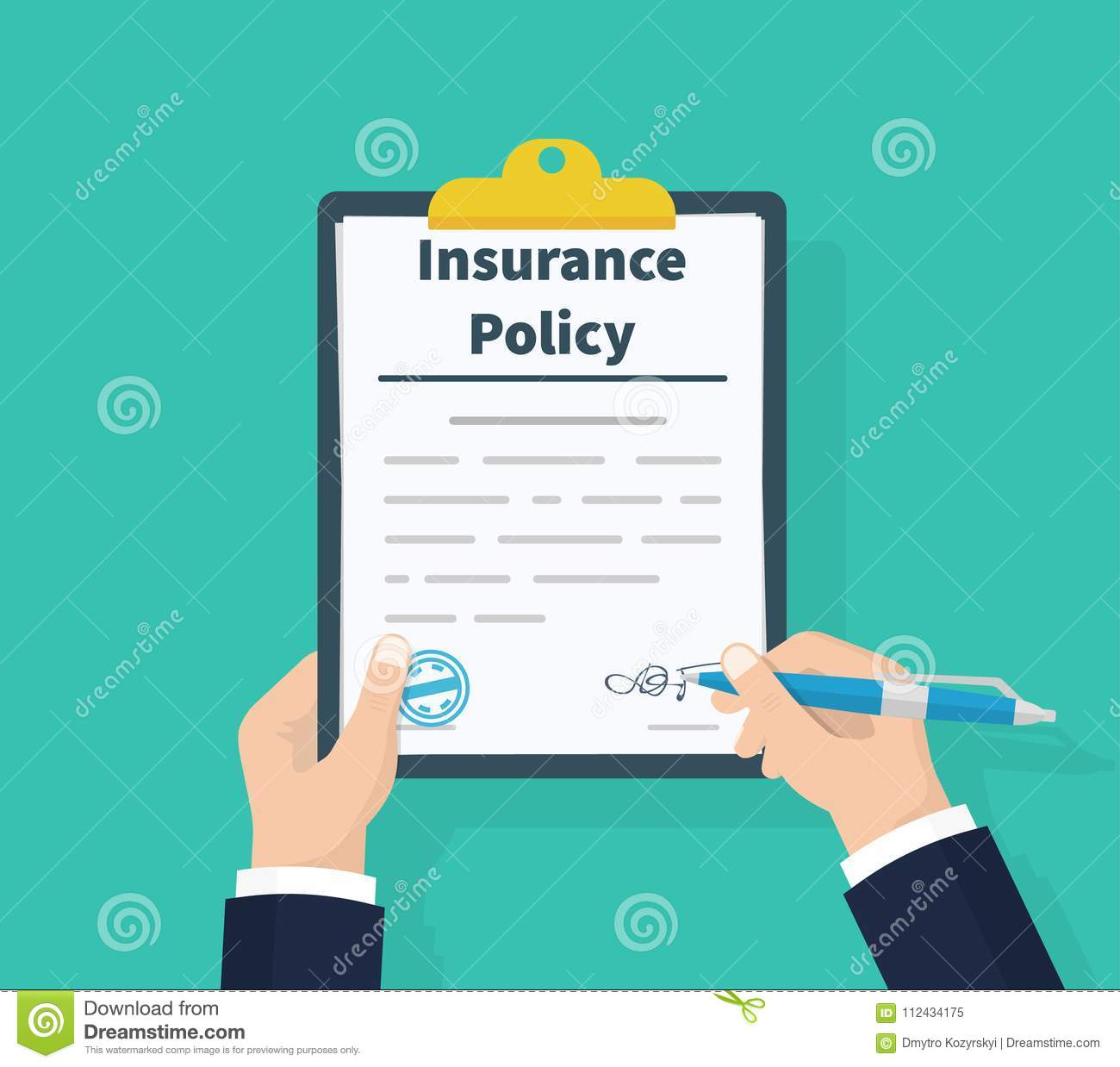 Insurance policy. Holding clipboard in hand. Man signature form. Claim form. Document protection property. Analyzing