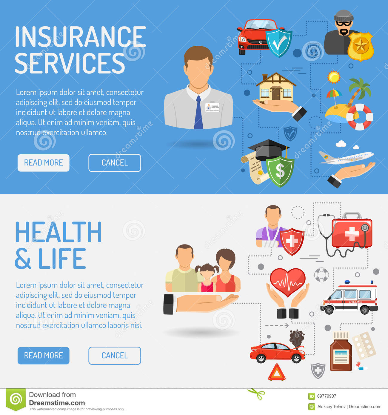 Insurance Services Banners Stock Vector - Image: 69779907