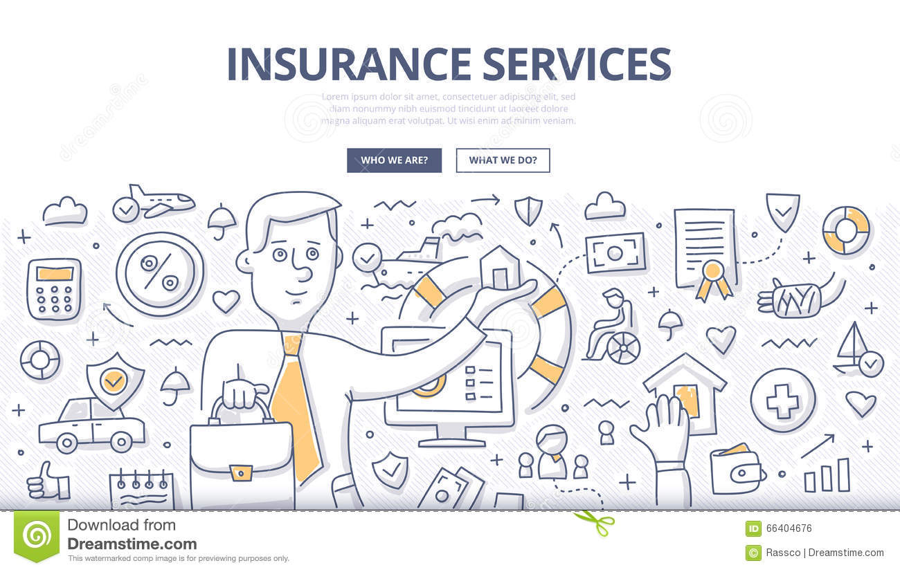 Insurance services doodle concept stock vector image for Design consulting services
