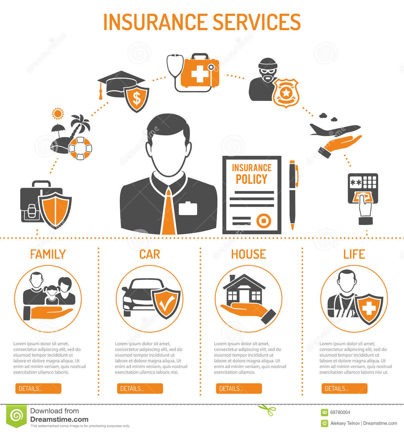 Insurance Services Infographics Stock Vector Image 69780004