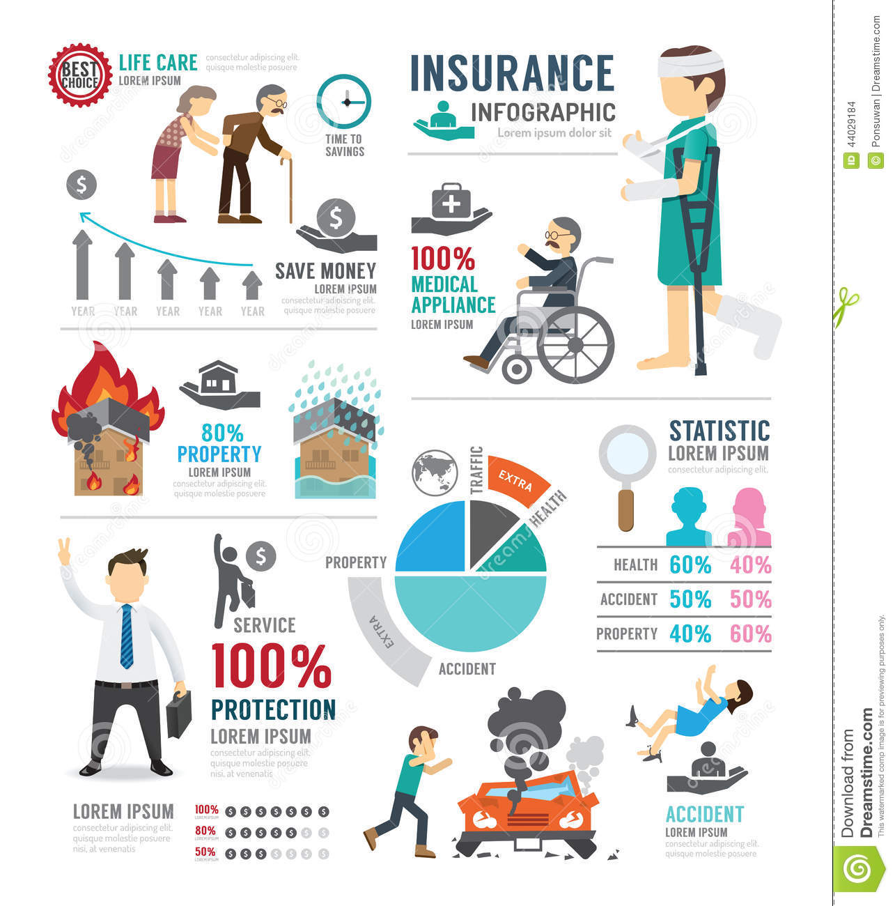 Insurance Template Design Infographic . Concept Vector Illustrat Stock ...