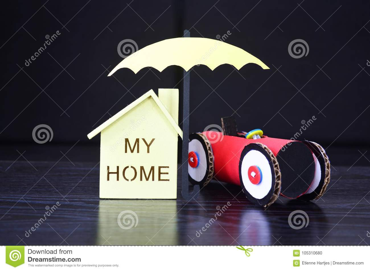 Insurance An Umbrella Protects House And Car Stock Photo Image
