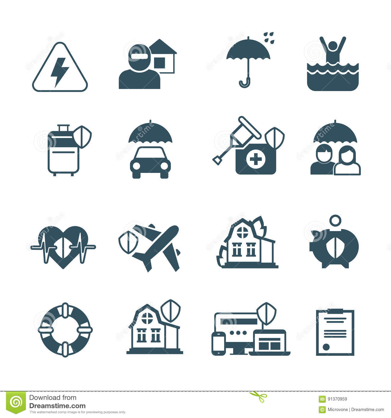 Insurance Vector Icons Protection And Safety Symbols Stock Vector