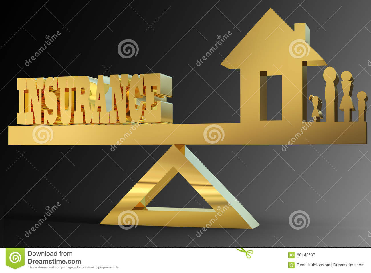 insurance word balanced with family and home on triangle stock
