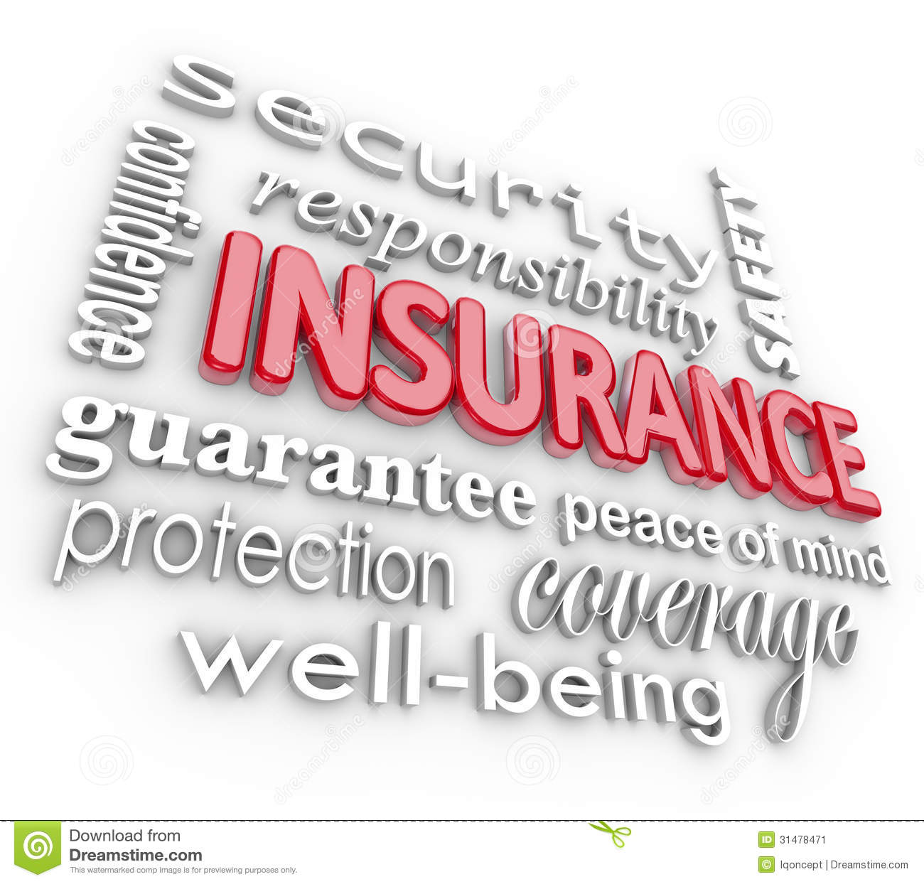 Insurance Word 3D Collage Proteciton Security From Harm ...