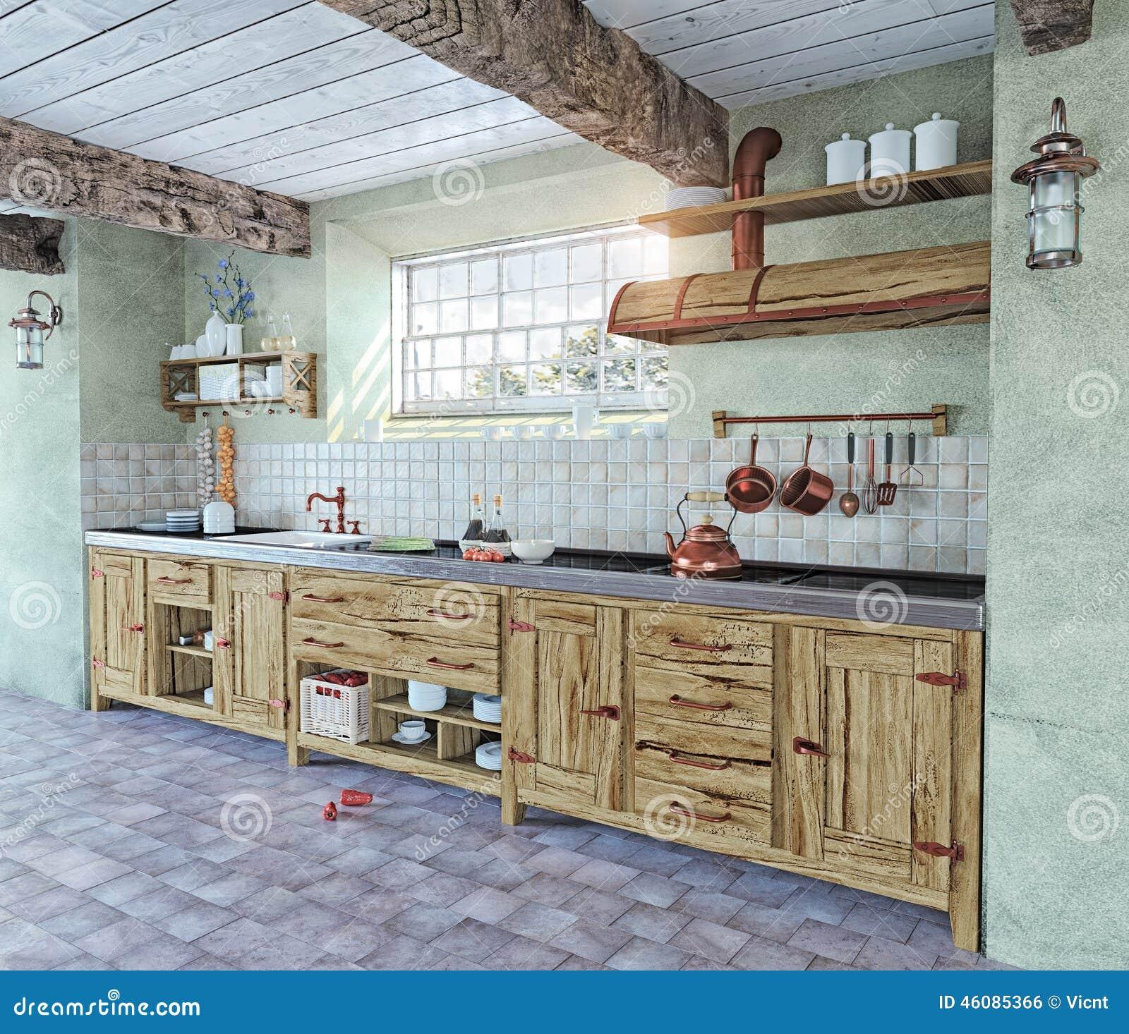 int rieur l 39 ancienne de cuisine illustration stock illustration du ch teau historique 46085366. Black Bedroom Furniture Sets. Home Design Ideas