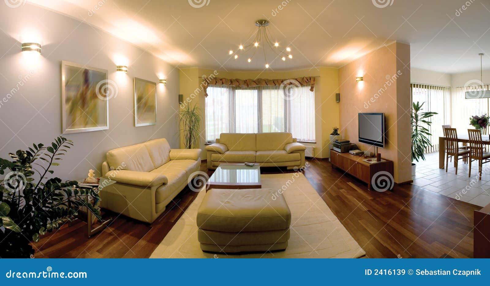 Intérieur d'une maison moderne, vue panoramique, salle de séjour