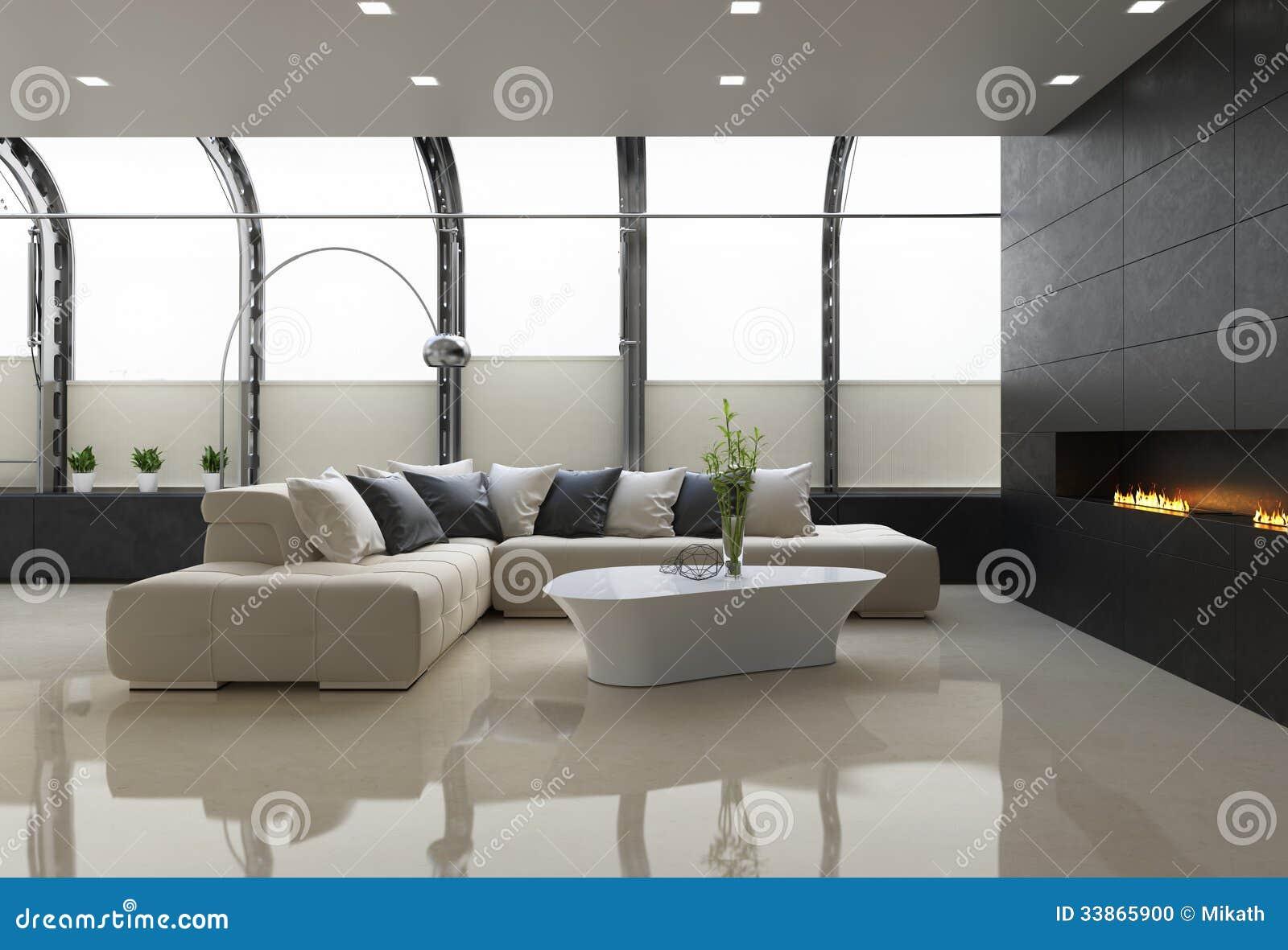 Intérieur élégant contemporain de grenier avec la cheminée moderne et un sofa en cuir beige
