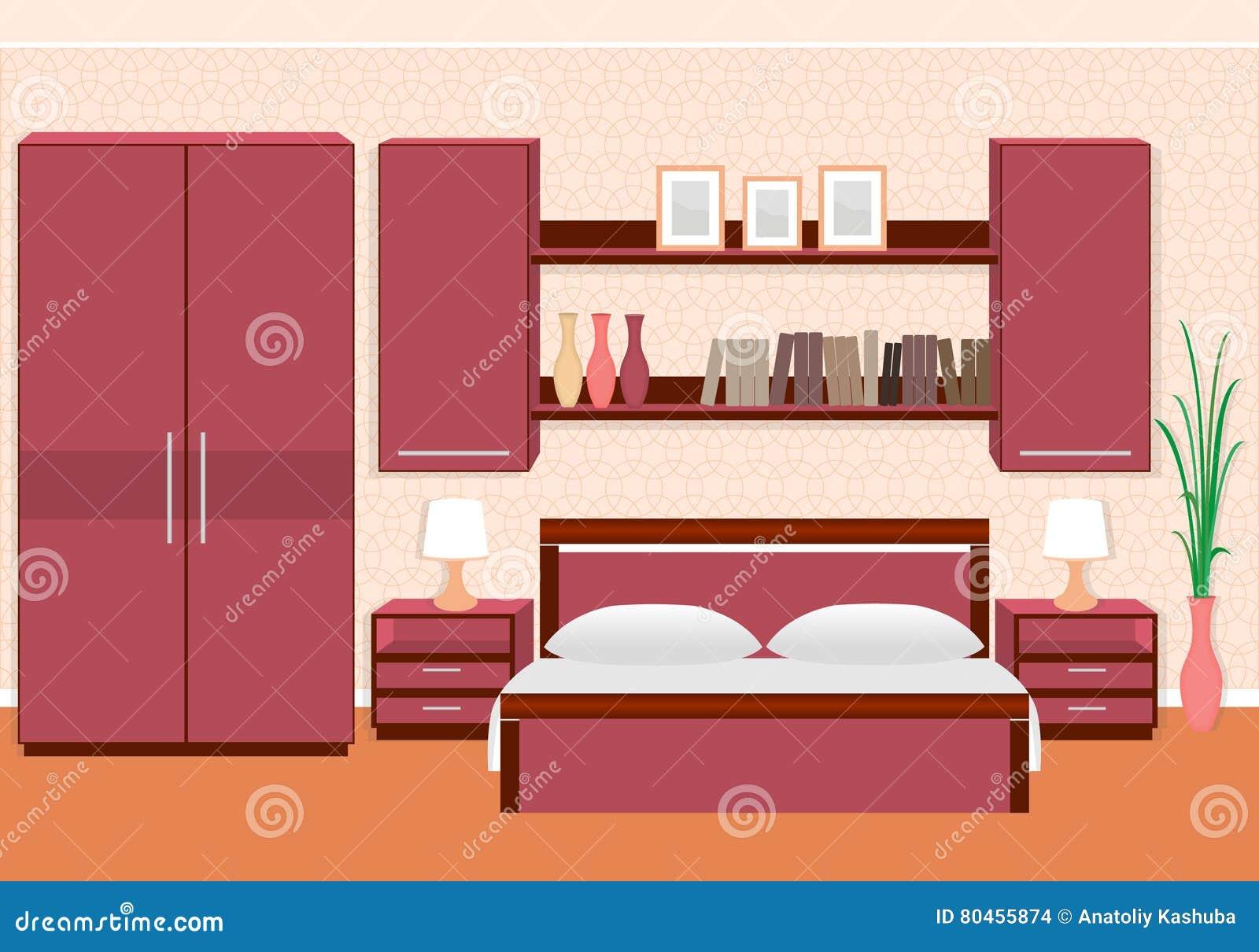 Interieur Elegant De Chambre A Coucher Avec Des Meubles Etageres