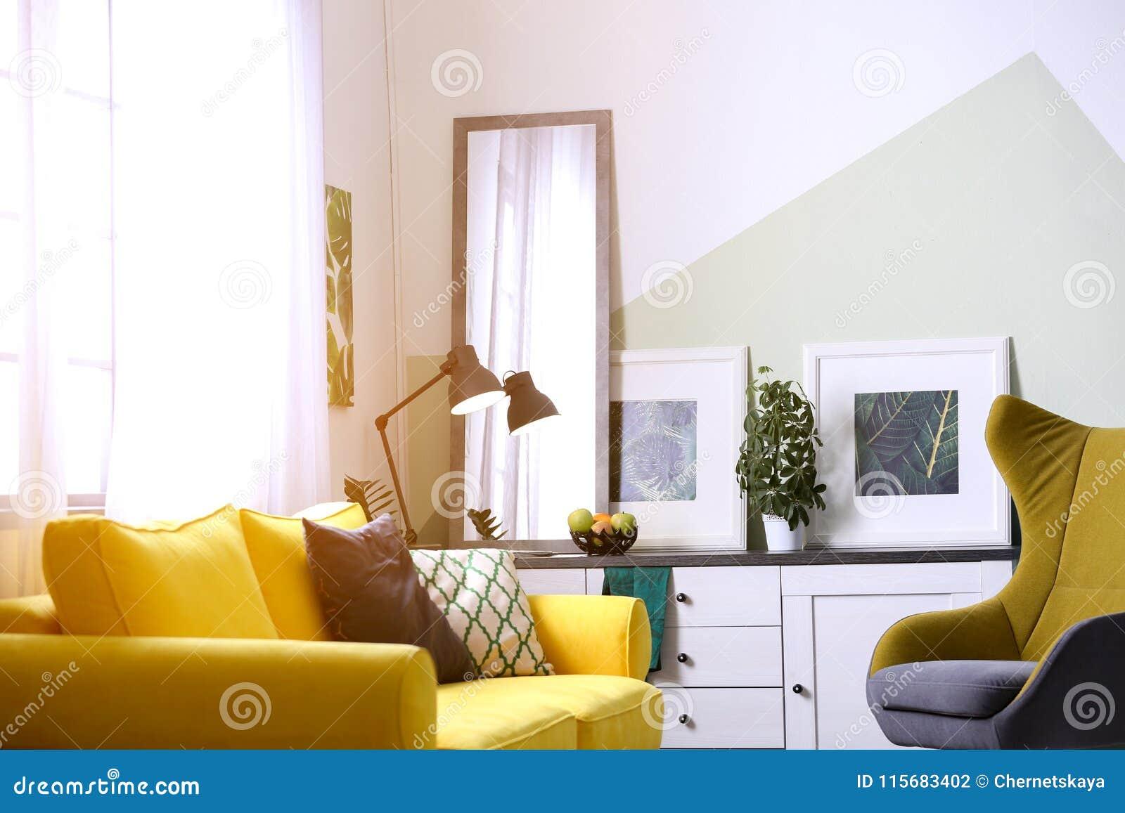 Interieur Elegant De Salon Avec Le Grand Miroir Photo Stock