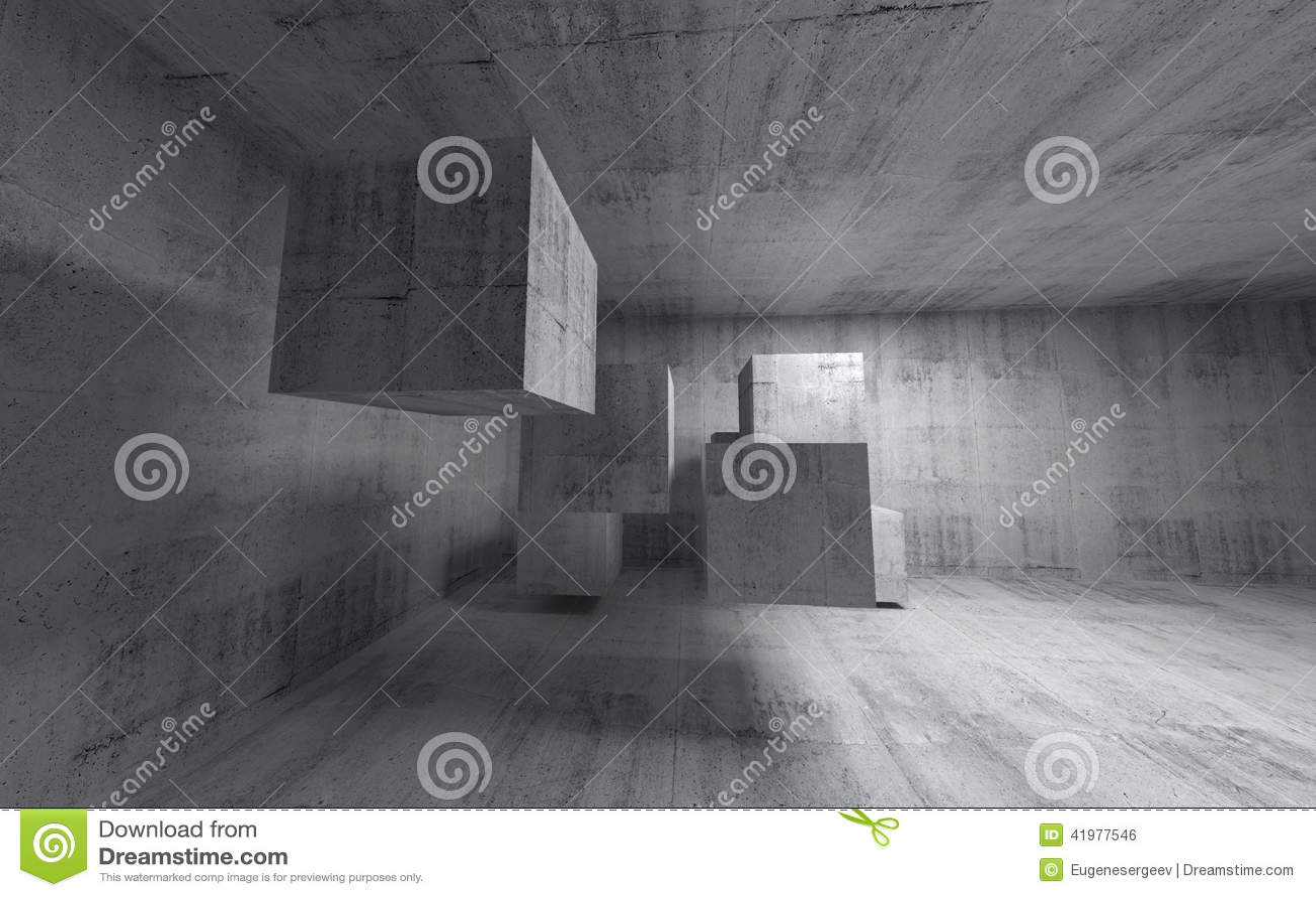 Intérieur abstrait du béton 3d avec des cubes en vol