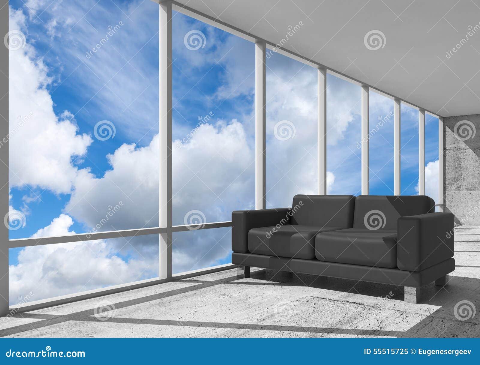 Intérieur abstrait pièce de bureau avec le sofa noir illustration