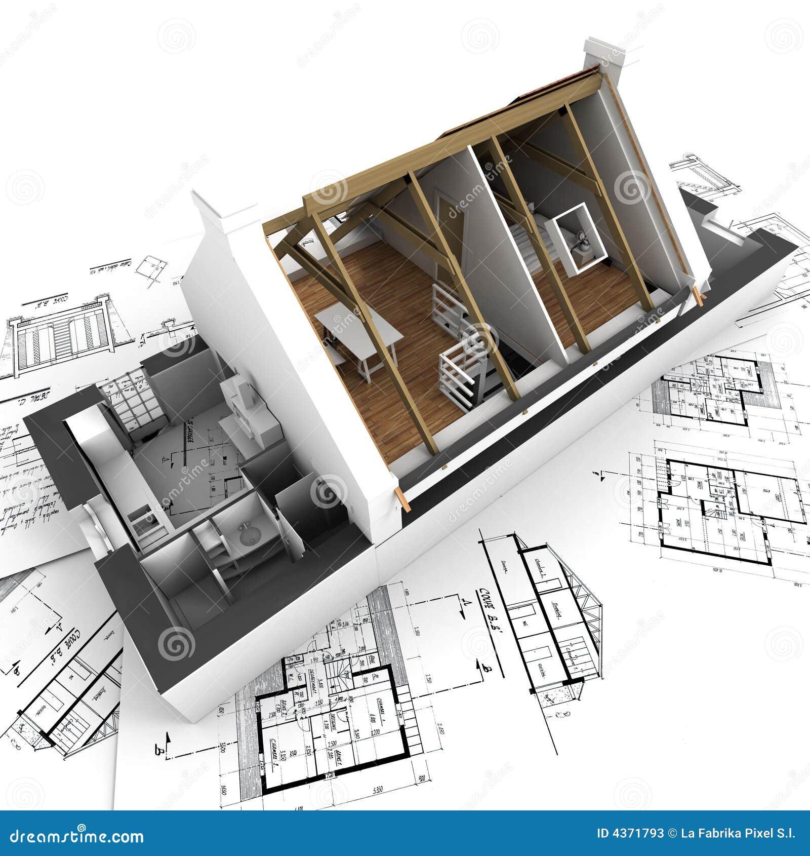 Intérieur Affichant Modèle De Maison D\'architecture Illustration ...
