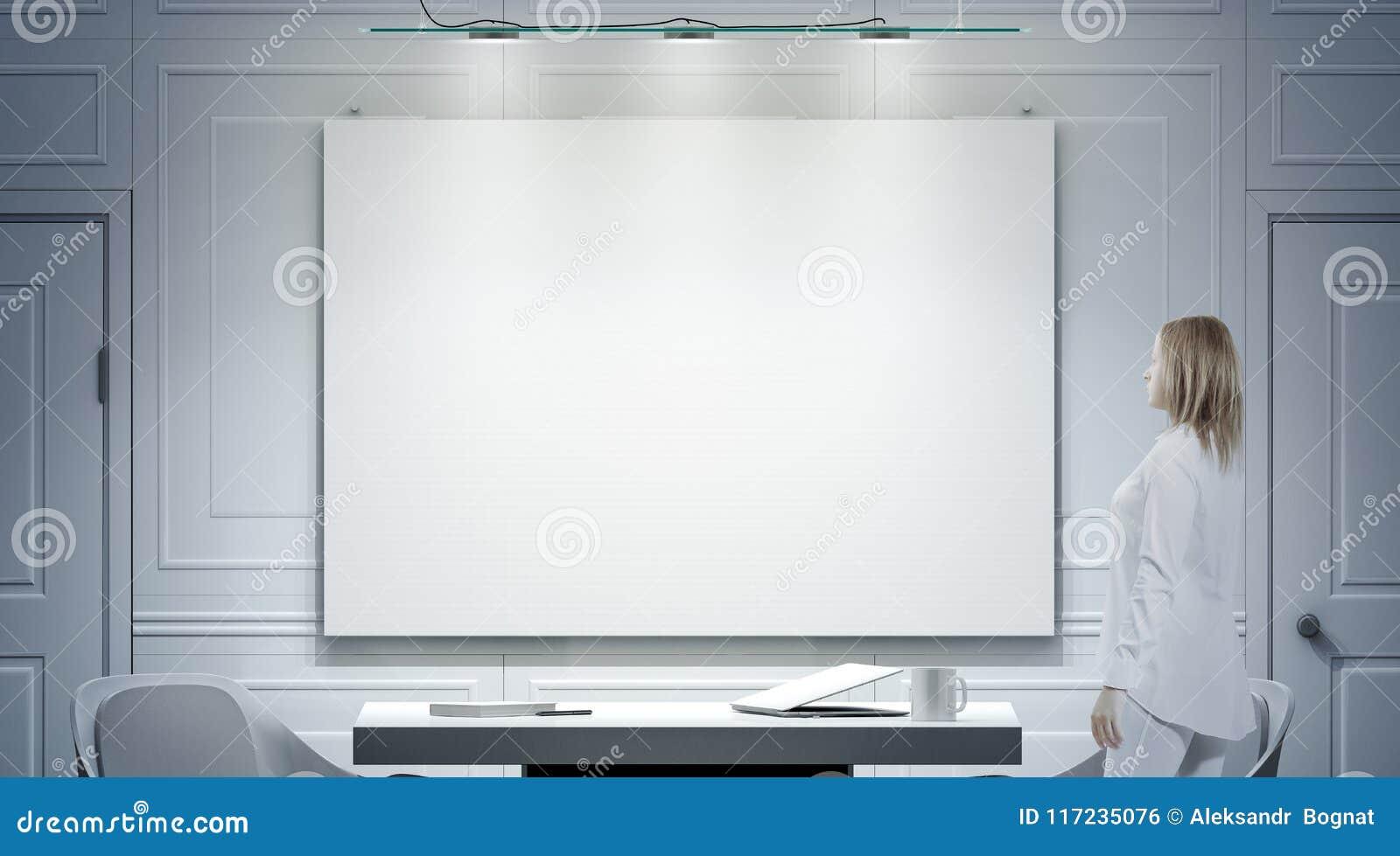 Intérieur blanc de bureau avec l affiche vide, maquette de support de personne
