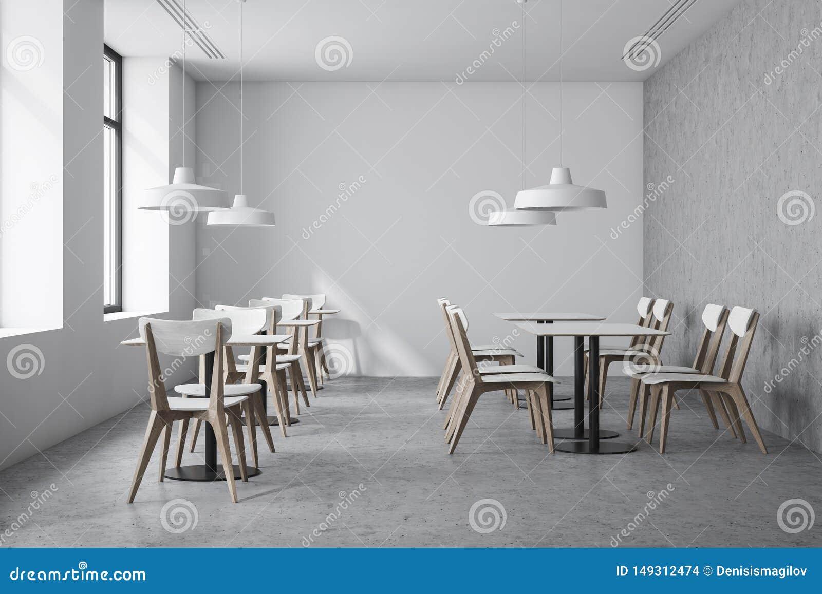 Intérieur blanc de café de style industriel