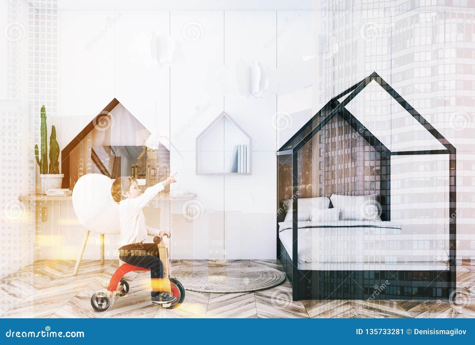 Intérieur Blanc De Chambre à Coucher D\'enfants, Garçon Image stock ...