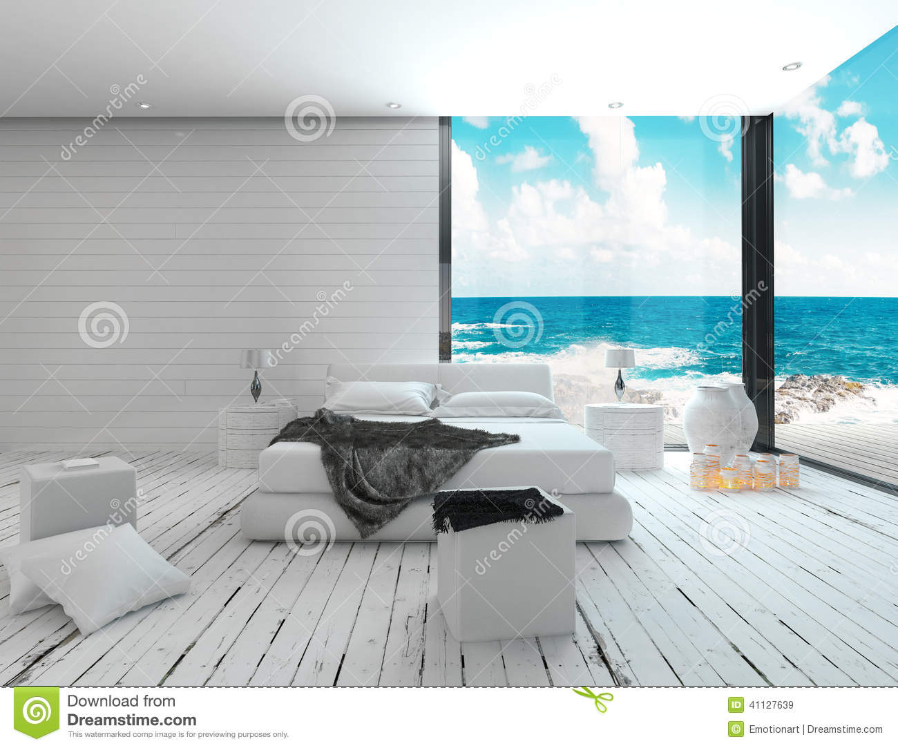 int rieur blanc de chambre coucher dans une vue maritime de style et de mer illustration stock. Black Bedroom Furniture Sets. Home Design Ideas