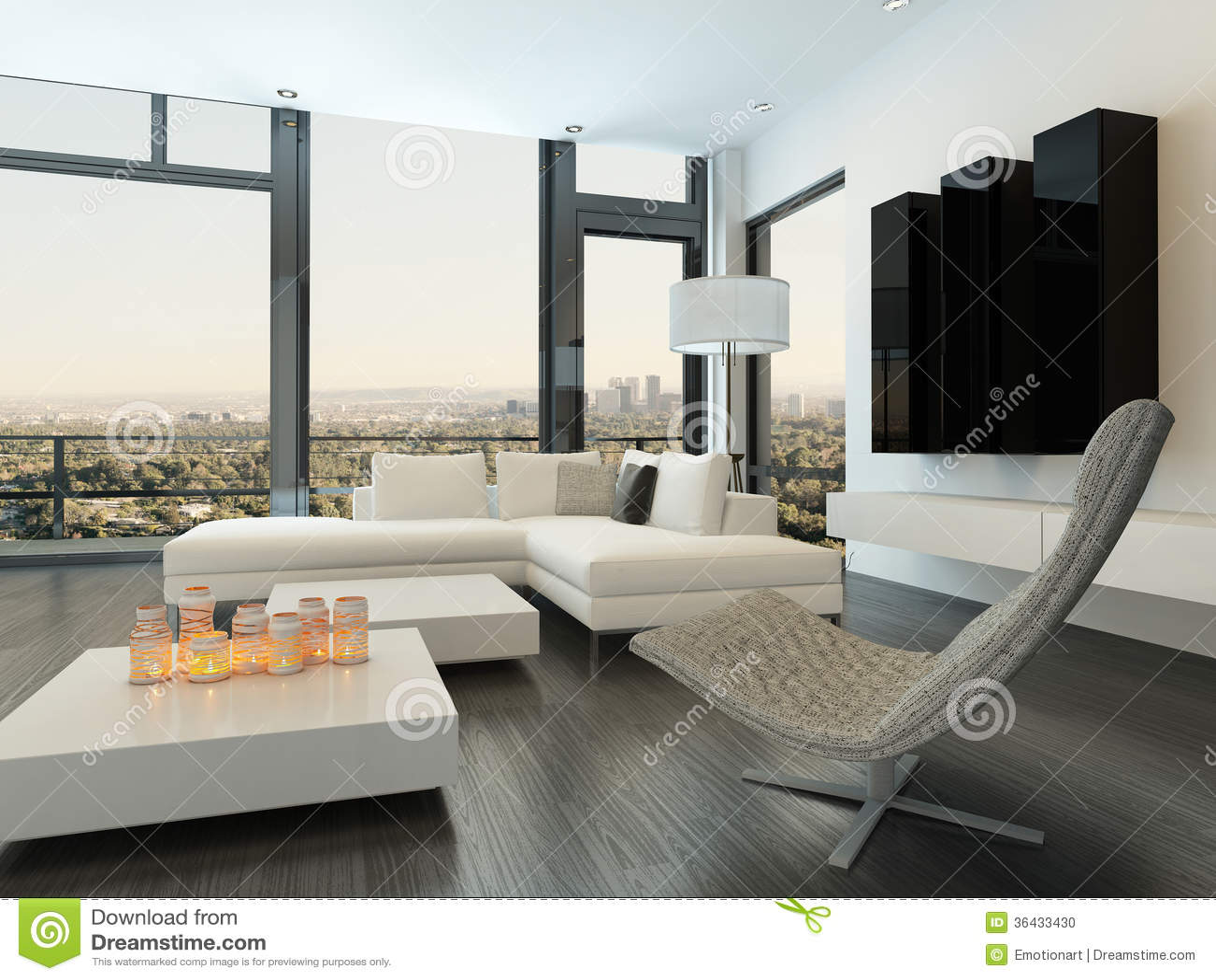 Interieur Blanc De Luxe De Salon Avec Les Meubles Modernes