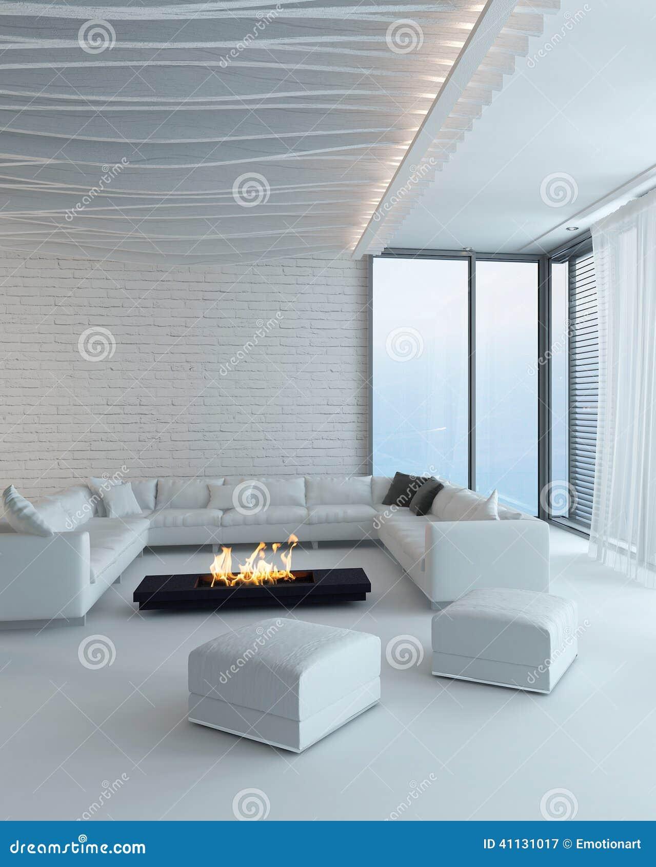 int rieur blanc de salon avec la chemin e illustration stock image 41131017. Black Bedroom Furniture Sets. Home Design Ideas