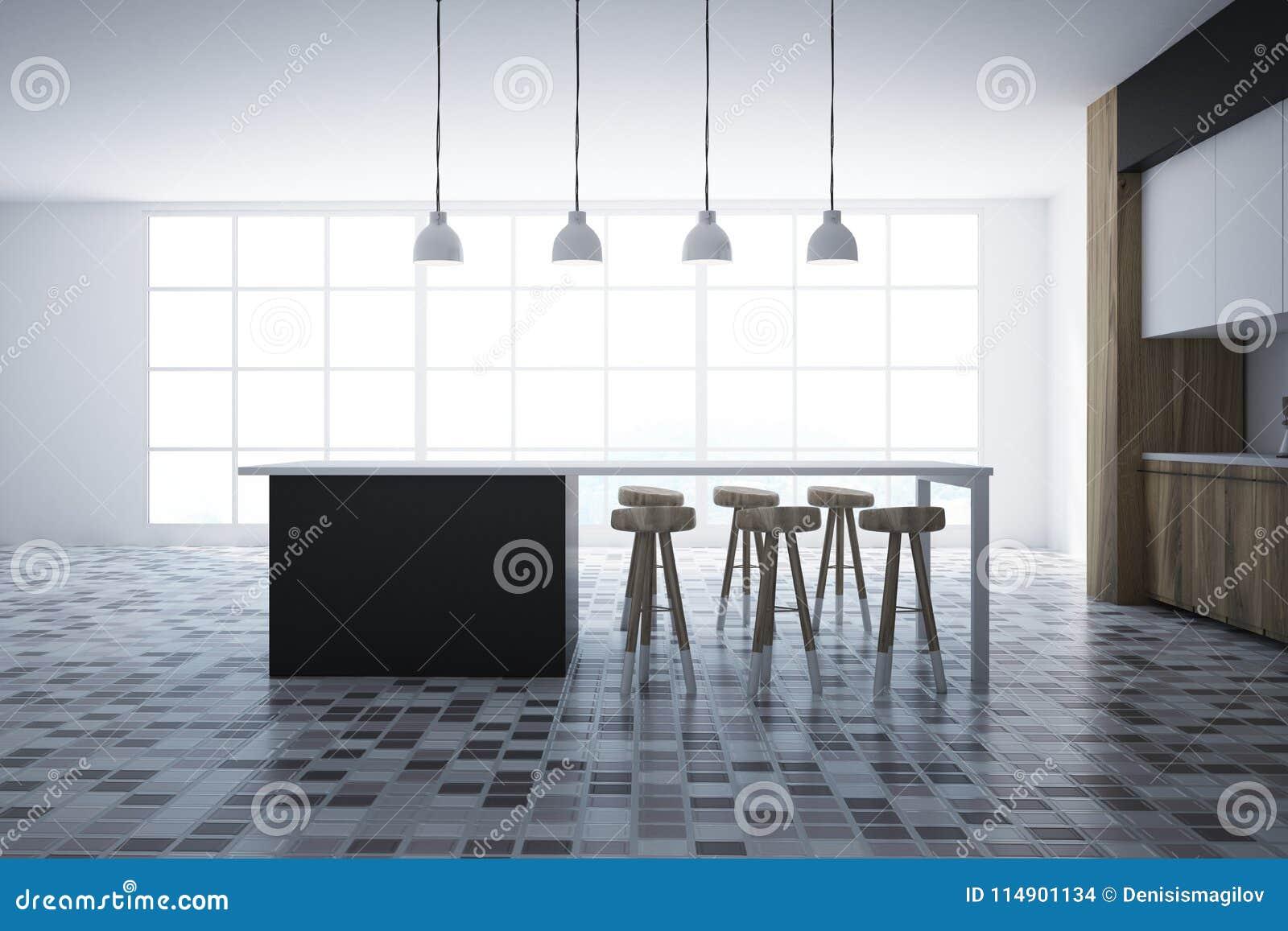 Interieur Blanc Et Noir De Cuisine Barre Illustration Stock