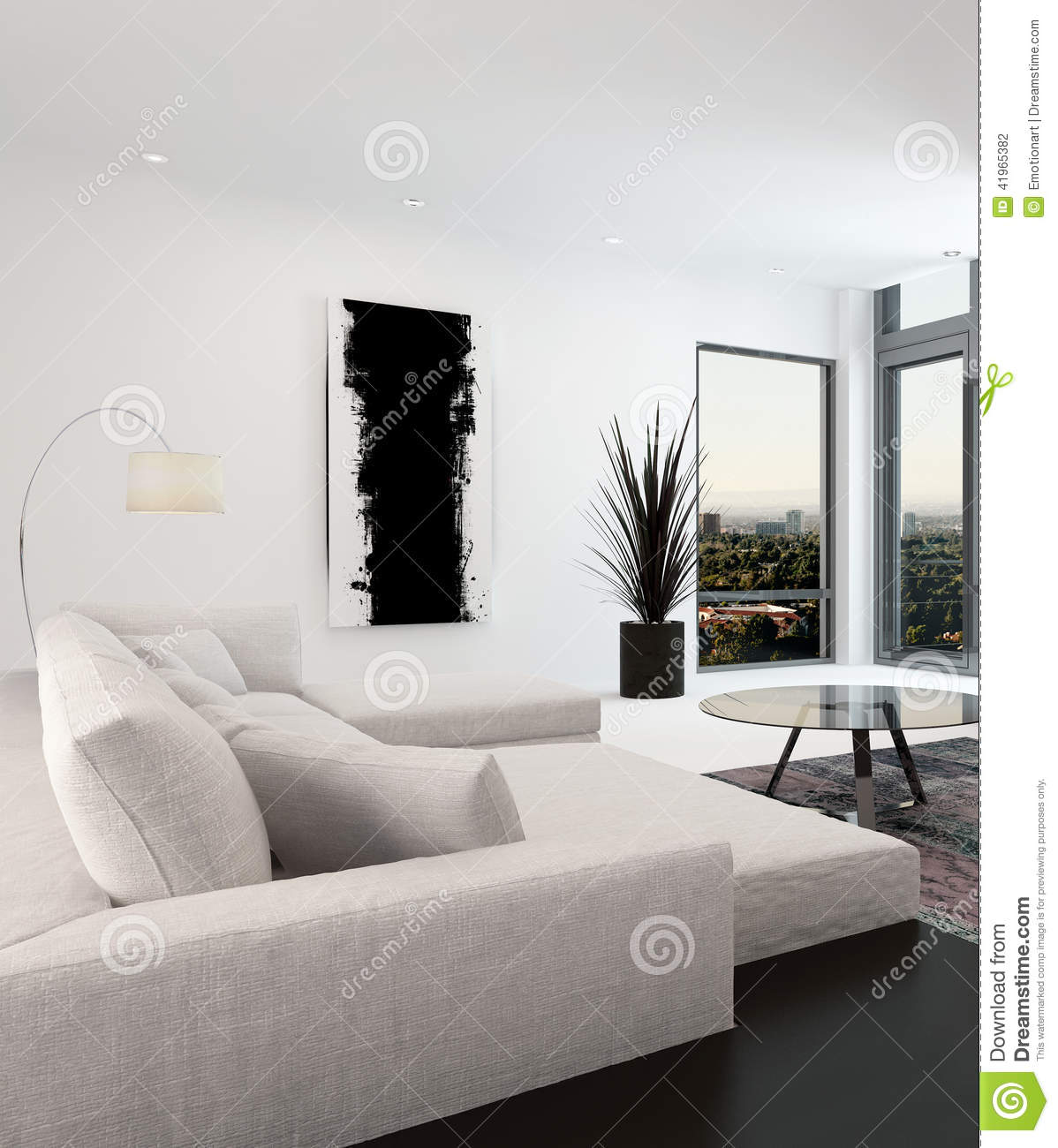 int rieur blanc et noir de salon illustration stock image 41965382. Black Bedroom Furniture Sets. Home Design Ideas