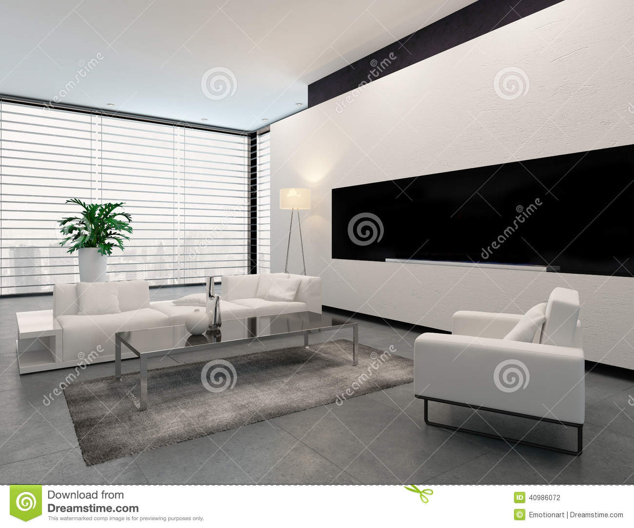 int rieur blanc gris et noir moderne de salon illustration stock illustration du houseplant. Black Bedroom Furniture Sets. Home Design Ideas