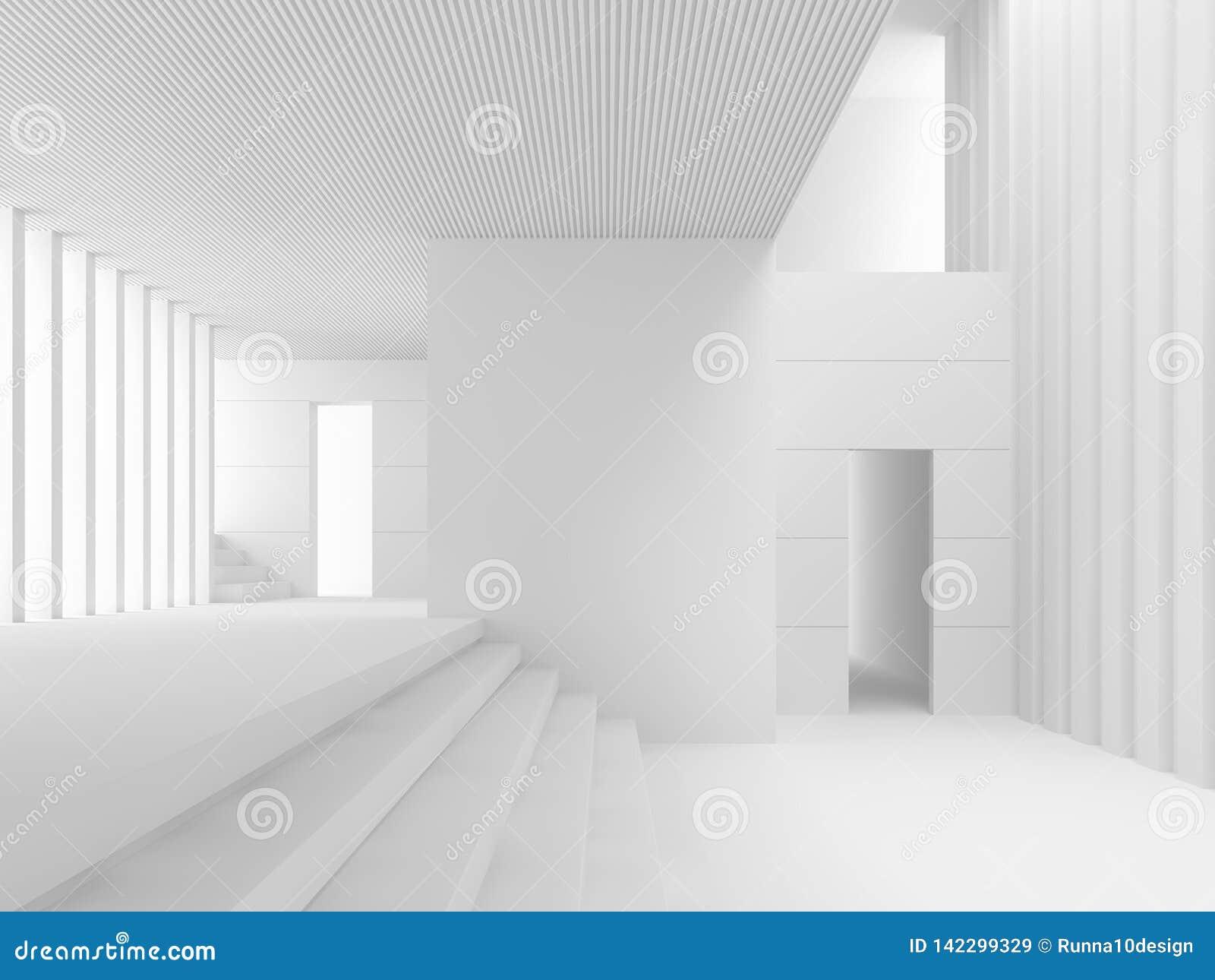 Intérieur blanc moderne de l espace avec beaucoup étape 3d rendre