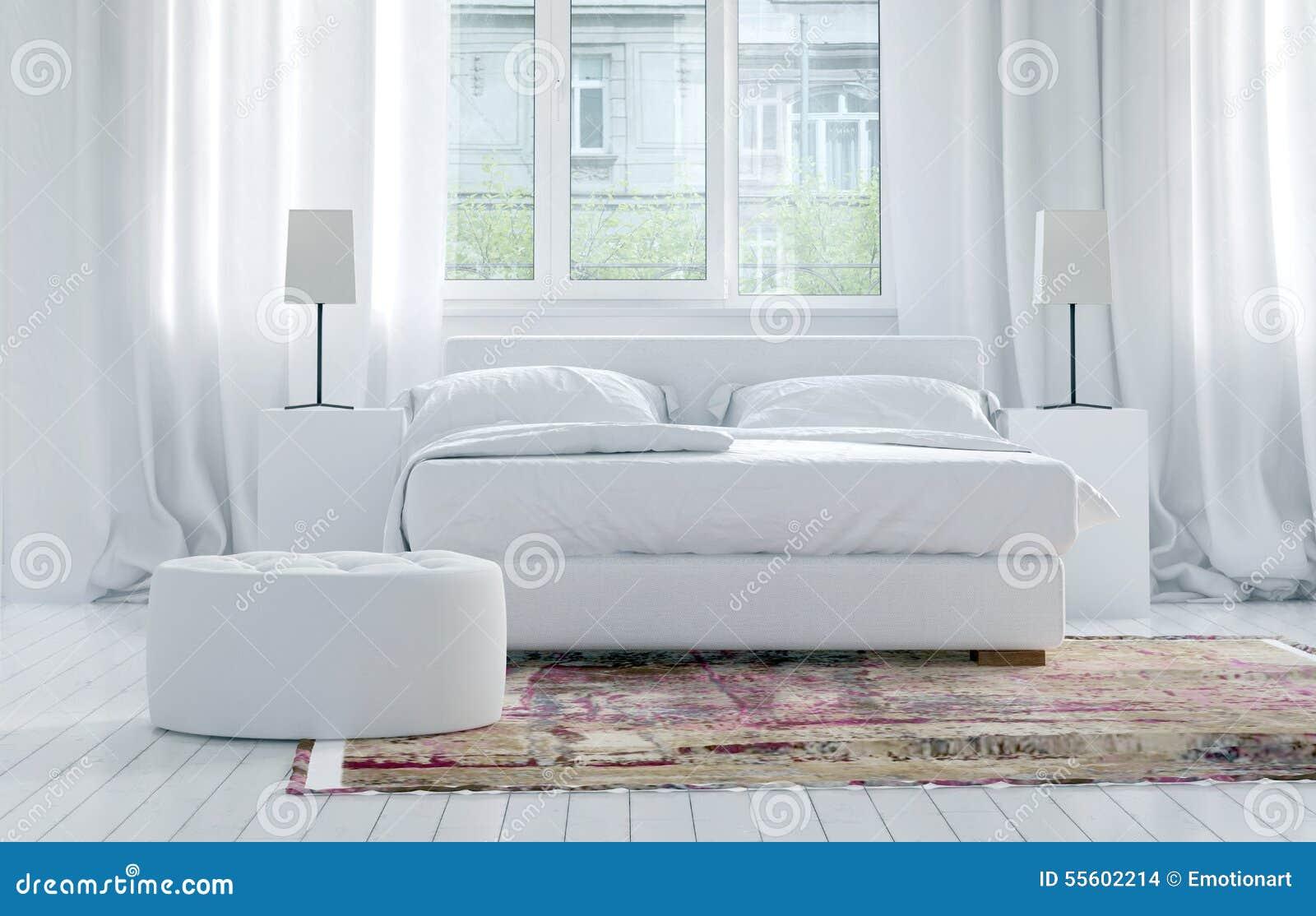 Intérieur Blanc Monochromatique De Luxe De Chambre à Coucher ...