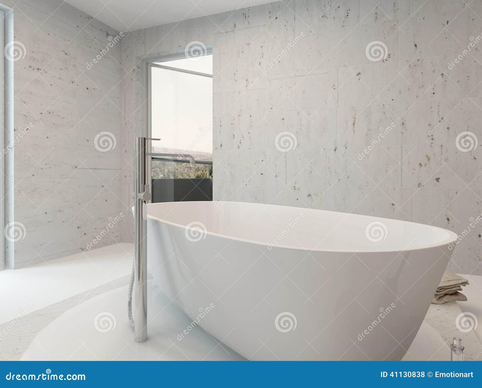 Image Dinterieur Blanc Propre Pur De Salle Bains Avec La Baignoire