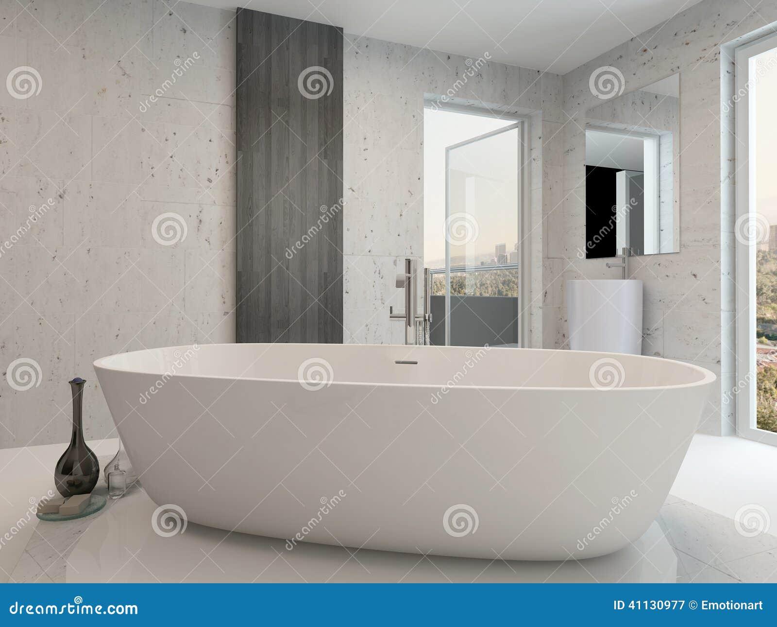 Image Dun Interieur Blanc Propre Pur De Salle Bains Avec La Baignoire