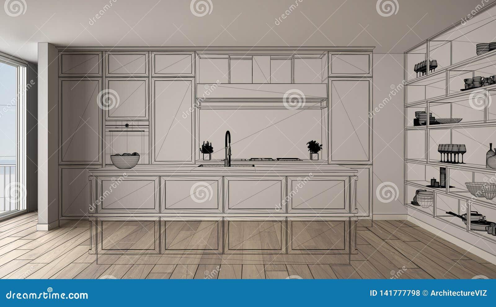 Intérieur blanc vide avec le plancher de parquet, projet de conception fait sur commande d architecture, croquis à l encre noire,