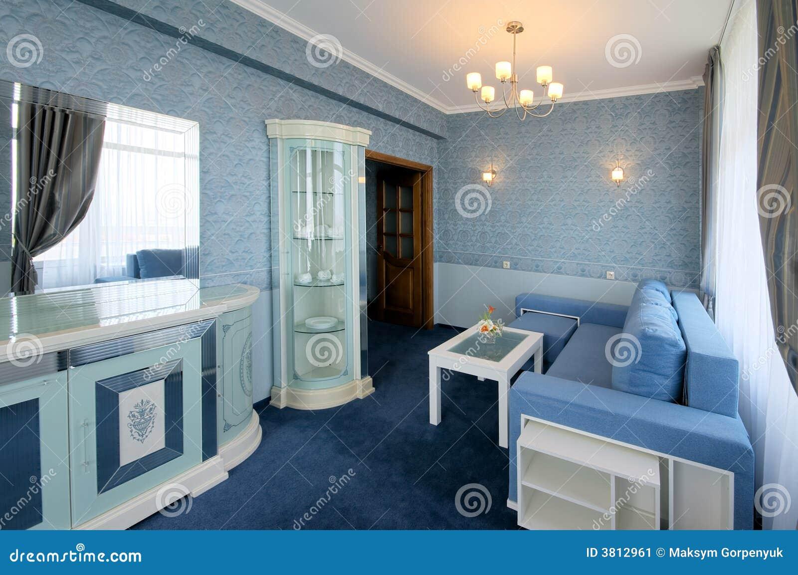 Int rieur bleu de salle de s jour image stock image 3812961 for Salle de sejour bleu